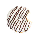 Bitten donut with white icing and chocolate syrup Stock Photography