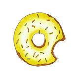 Bitten donut with yellow glaze and sprinkles. Hand drawn marker Royalty Free Stock Photography