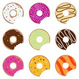 Bitten donuts, donuts set Stock Image