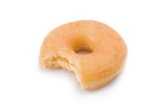 Bitten doughnut or donut isolated Royalty Free Stock Images
