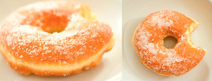 Bitten doughnuts with sugar. Collage of shots of two doughnuts with sugar Stock Photo