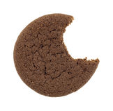 Bitten Dutch cocoa cookie on a white background Stock Image