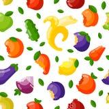 Bitten fruits vector seamless pattern. Stock Images