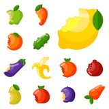Bitten fruits vector vitamin food and vegetable cut nutrition agriculture bited by tooth fruits stamp delicious snack Royalty Free Stock Photo