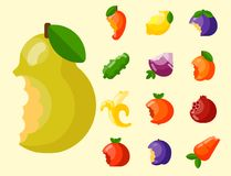Bitten fruits vector vitamin food and vegetable cut nutrition agriculture bited by tooth fruits stamp delicious snack. Illustration Stock Image