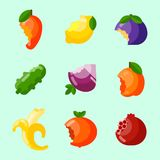 Bitten fruits vector vitamin food and vegetable cut nutrition agriculture bited by tooth fruits stamp delicious snack. Illustration Stock Photography