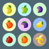 Bitten fruits vector vitamin food and vegetable cut nutrition agriculture bited by tooth fruits stamp delicious snack. Illustration Royalty Free Stock Image