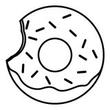 Bitten Glazed ring donut with sprinkles Royalty Free Stock Photos