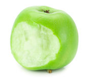 Bitten green apple isolated on the white background Royalty Free Stock Photo