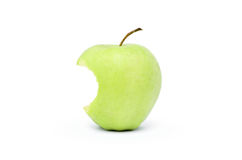 Bitten green apple isolated on a white background Stock Photography
