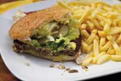 Bitten hamburger with chips in plate Royalty Free Stock Photos