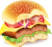 Bitten hamburger photo realistic  Royalty Free Stock Images