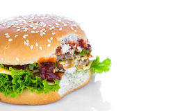 Bitten hamburger Royalty Free Stock Photo
