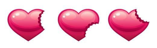 Bitten heart Stock Photo