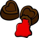 Bitten heart shaped chocolates vector illustration. Vector illustration of two bitten heart shaped chocolates Stock Image