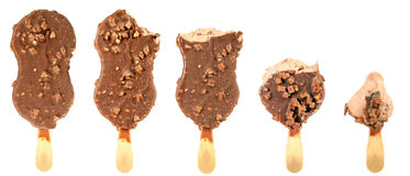 Bitten ice cream with chocolate on a stick Royalty Free Stock Photos
