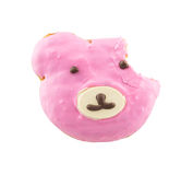 Bitten missing of pink bear face donut Stock Images
