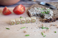 Bitten Off Wholemeal Bread With Spread For Lunch Stock Image