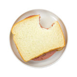 Bitten P&P Loaf Sandwich On White Bread Royalty Free Stock Photography