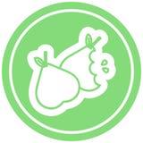 Bitten pears circular icon. A creative illustrated bitten pears circular icon image stock illustration