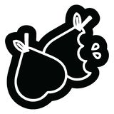Bitten pears icon. A creative illustrated bitten pears icon image stock illustration