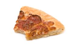 Bitten pepperoni pizza slice Royalty Free Stock Photo