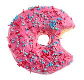 Bitten pink donut. On white background Royalty Free Stock Photo