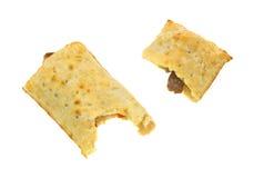 Bitten pocket bread breakfast sandwich Royalty Free Stock Image