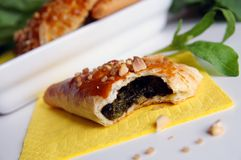 Bitten puff-pastry pasty filled in fresh sorrel Royalty Free Stock Photo