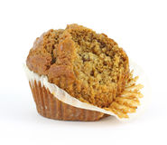 Bitten raisin bran muffin Royalty Free Stock Images