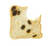 Bitten raisin bread isolated on white background Stock Photos