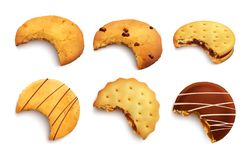 Bitten Realistic Cookies. Set of different kind of bitten tasty cookies glazed with chocolate crumbs and jam layer isolated realistic vector illustration royalty free illustration