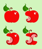 The bitten red apple. Four variation Stock Images