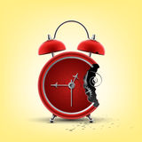 Bitten red clock Royalty Free Stock Photos