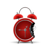 Bitten red clock Royalty Free Stock Photography