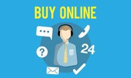 Bitten Sie uns, online zu kaufen sich beraten in Verbindung treten mit uns Kundenbetreuungs-Konzept vektor abbildung