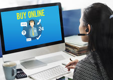 Bitten Sie uns, online zu kaufen sich beraten in Verbindung treten mit uns Kundenbetreuungs-Konzept lizenzfreie stockfotografie