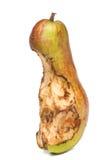 Bitten spoil pear.  white background. Stock Photo