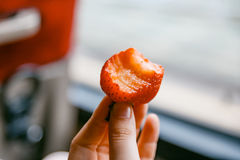 Bitten Strawberry Royalty Free Stock Photos