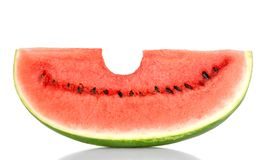 Bitten into a sweet watermelon slice, front view, over white Stock Image