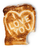 Bitten toast with I love you message Royalty Free Stock Image