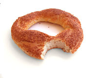 Bitten Turkish Bagel Royalty Free Stock Photos