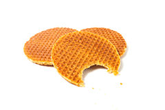 Bitten waffle with caramel Stock Photography