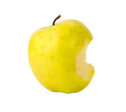 Bitten yellow green apple Stock Images