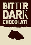 Bitter dark chocolate. Typographical vintage Chocolate poster design. Vector illustration. Royalty Free Stock Image