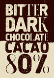 Bitter dark chocolate. Typographical vintage Chocolate poster design. Vector illustration. Royalty Free Stock Photos