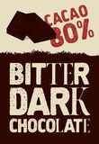 Bitter dark chocolate. Typographical vintage Chocolate poster design. Vector illustration. Royalty Free Stock Photo