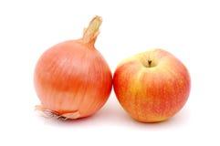 Bitter en zoet, ui en appel stock afbeelding
