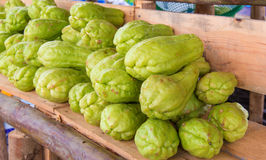 Bitter gourd or Chayote on wood in farms of agriculturist.  Royalty Free Stock Photography