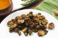 Bitter gourd fry a dish from Tamil Nadu. Bitter gourd fry or karela fry is made by frying the karela in spices and this can be eaten as side dish with meal Royalty Free Stock Photos